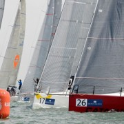 Brewin Dolphin Commodores' Cup 2014 Day 1 Inshore Race 1 start, Catapult to leeward.